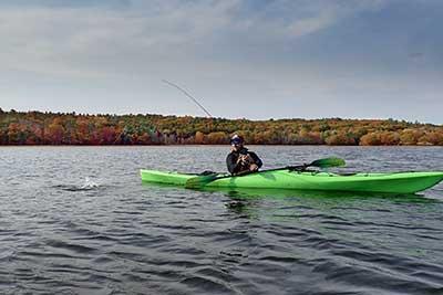 kayak fishing for stipers